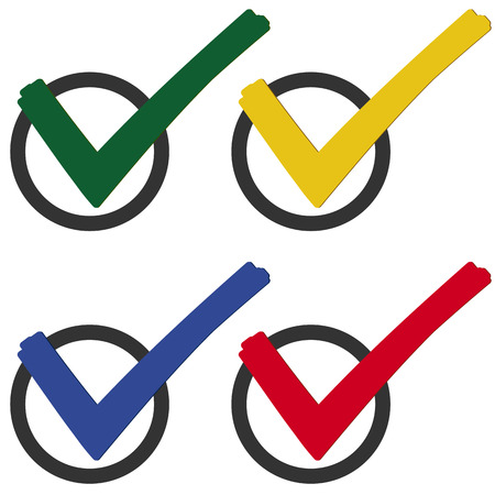 off the hook: collection of colored check marks to symbolize success
