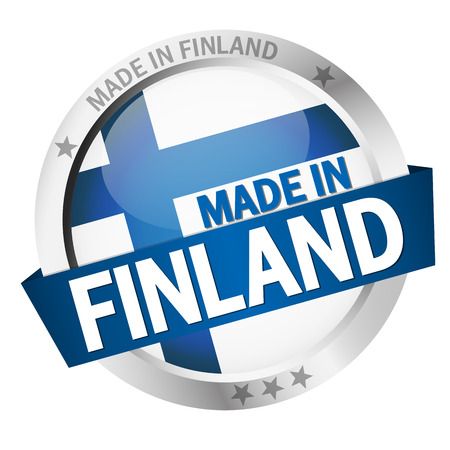 made in finland: round  country flag and text MADE IN FINLAND Illustration