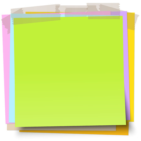 adhesive tape: little sticky papers wild about each other with colored adhesive tape and free copy space