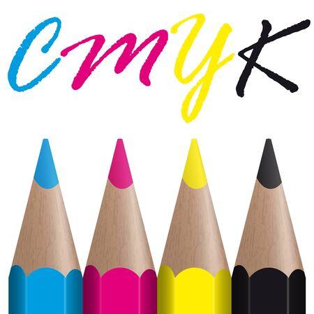 colored pencils: four colored pencils showing CMYK color management
