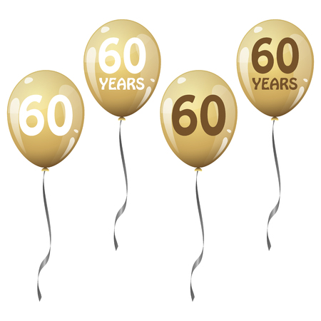 60 years: four golden jubilee balloons for 60 years Illustration