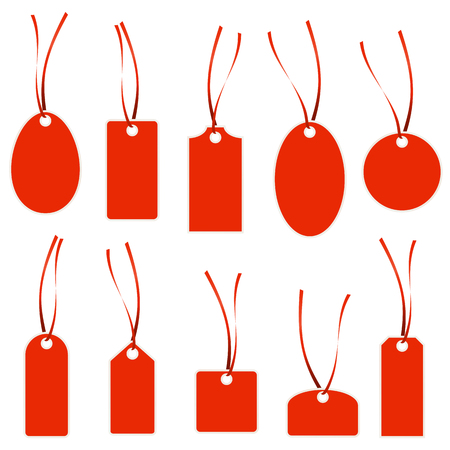 hangtag: collection of different hang tags colored red