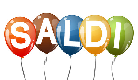 discounted: five multi colored flying balloons with text SALDI