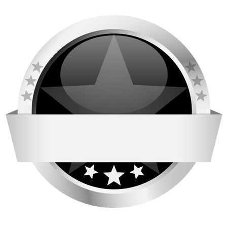 customercare: template of black button with silver frame and banner
