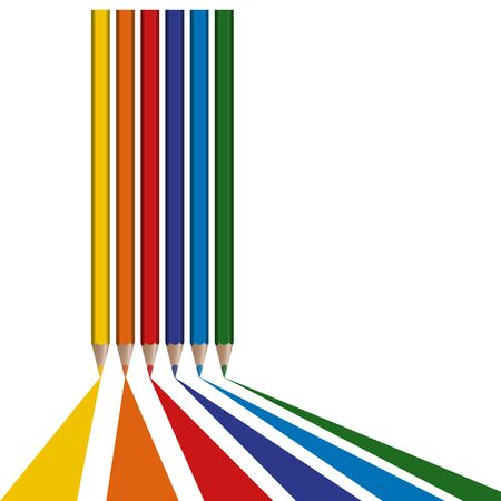 geometrically: six different colored pencils draw lines from bottom border