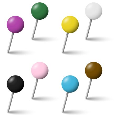 pinhead: collection of colored pin needles with shadow Illustration