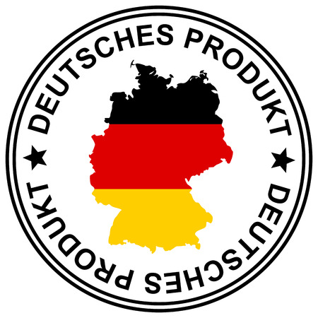 customercare: round patch  Deutsches Produkt  with silhouette of germany Illustration