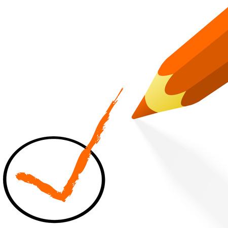 off the hook: illustration of pencil colored orange drawing a hook Illustration