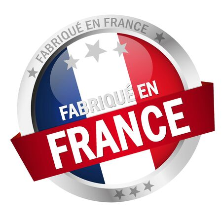 banderole: round button with banner, country flag and text FABRIQU� EN FRANCE Illustration