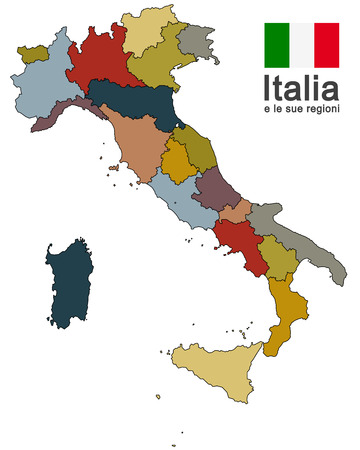 silhouettes of european country Italy and the regions Vettoriali