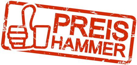 rode grunge stempel met frame, duimen omhoog en tekst Preishammer Vector Illustratie