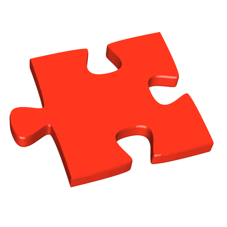 puzzling: 3D puzzle piece red
