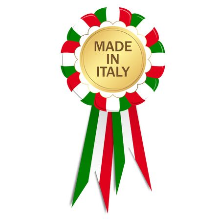 made in italy: Seal with ribbons MADE IN ITALY Illustration