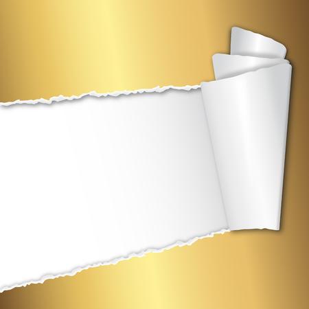 strappato carta dorata aperto con spazio per il testo