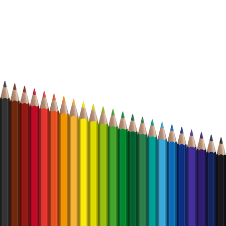 palette: Colored pens in series falling