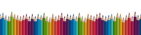 fila de lápices de colores sin costura en la parte inferior