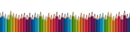 colored pencils: seamless colored pencils row on lower side