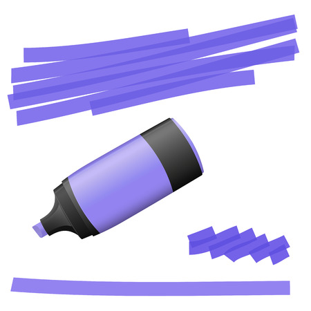 office supply: purple colored high lighter with markings for advertising usage Illustration