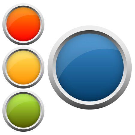 klik: verzameling ronde knop in vier kleuren met zilveren frame Stock Illustratie