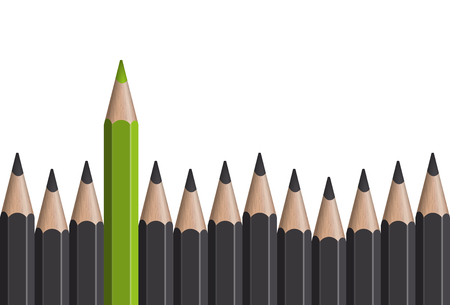 role model: row of gray pencils with one colored green symbolizing the special one