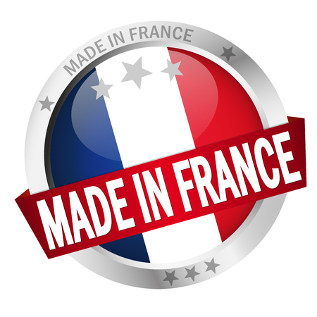 banderole: round button with banner, country flag and text MADE IN FRANCE