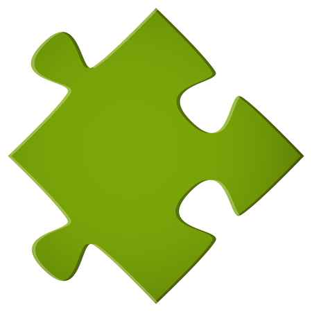 symbolism: simple green puzzle piece for teamwork and business symbolism