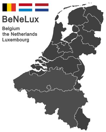 Europese landen België, Nederland, Luxemburg en alle provincies Vector Illustratie