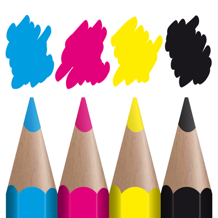 print shop: four colored pencils showing CMYK color management