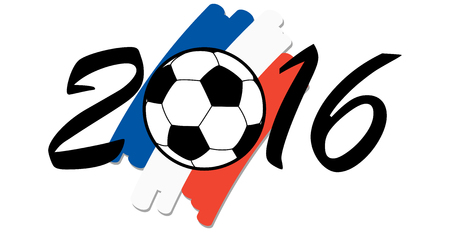 national colors: lettering 2016 with soccer ball and france national colors Illustration