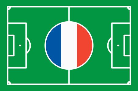 national colors: abstract green soccer field with white marks and france national colors in center point