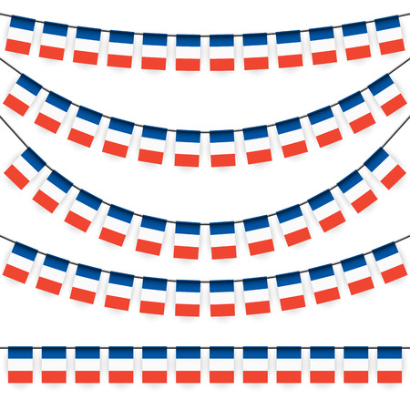 different garlands with national colors of france flag