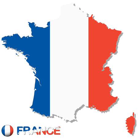 national colors: silhouette of europe country france with national colors for football season