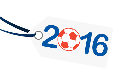 hang tag: hang tag with lettering 2016, soccer ball and france national colors Illustration