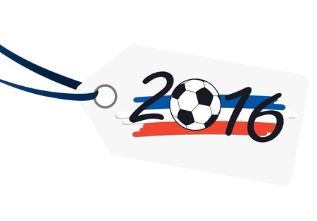 preliminary: hang tag with lettering 2016, soccer ball and france national colors Illustration