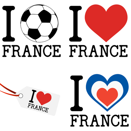 hangtag: collection of france icons for europe soccer game 2016 Illustration