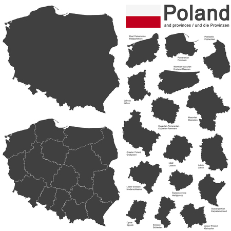 central government: european country Poland and detailed voivodeships (provinces) Illustration