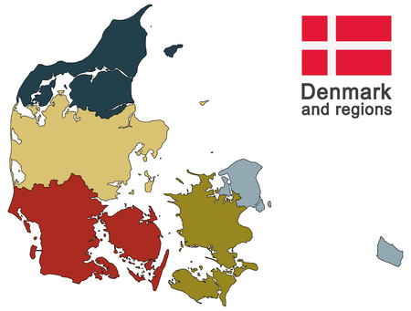 pays européen Danemark et régions détaillées