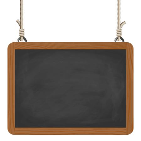 rectangular: blank black board with wooden frame hanging on ropes Illustration