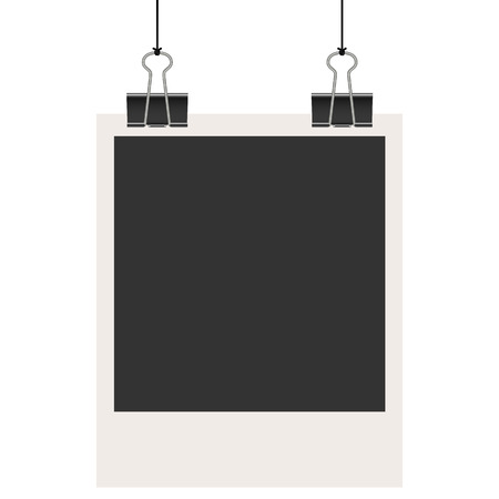 foldback: old empty photo with binder clips hanging at black twine Illustration
