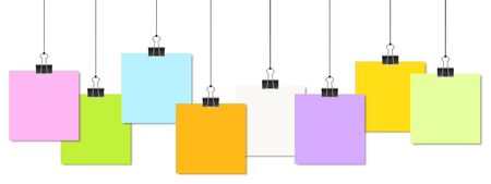 informing: empty colored papers with binder clips hanging at black twine Illustration