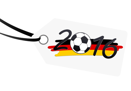 preliminary: hang tag with lettering 2016, soccer ball and german national colors