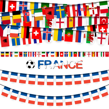 hangtag: garland with teams of france soccer game summer 2016