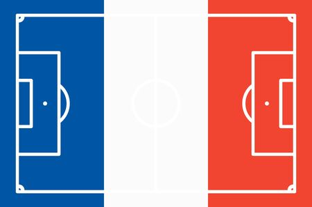 national colors: abstract soccer field with white marks and france national colors background