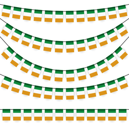 adorning: different garlands with national colors of irish flag
