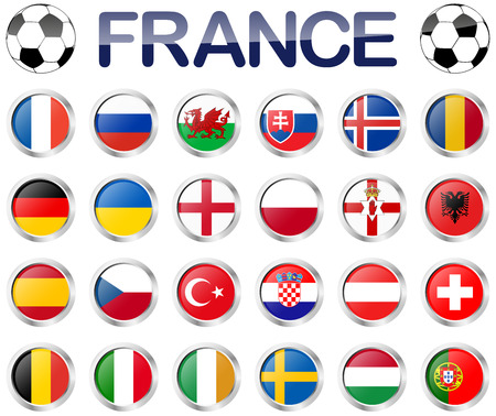 alle flags of national teams of france soccer championship Illustration