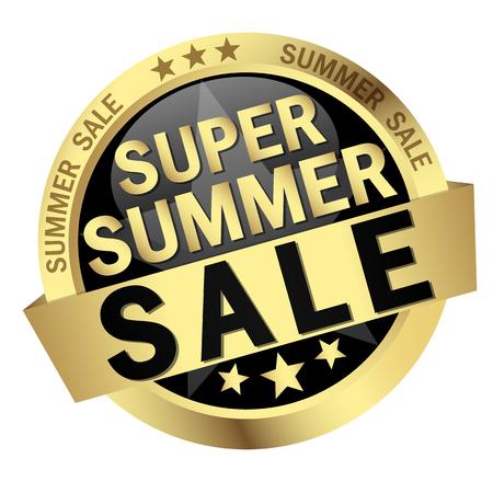 colored button with banner and text Super Summer Sale Illusztráció