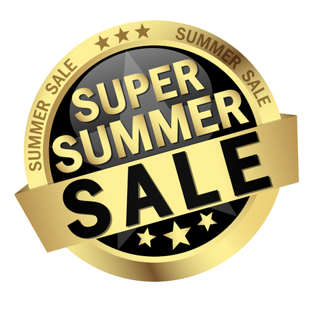 colored button with banner and text Super Summer Sale Illustration