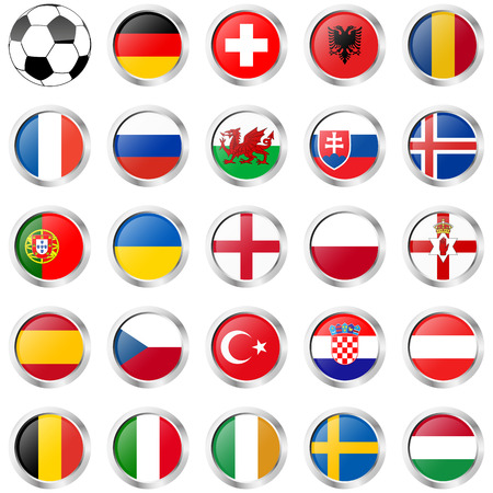 flags of national teams of france soccer championship Illustration