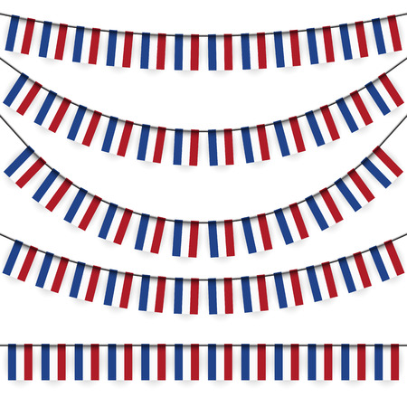 dutch flag: different garlands with national colors of dutch flag Illustration