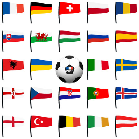 northern spain: alle flags of national teams of france soccer championship Illustration